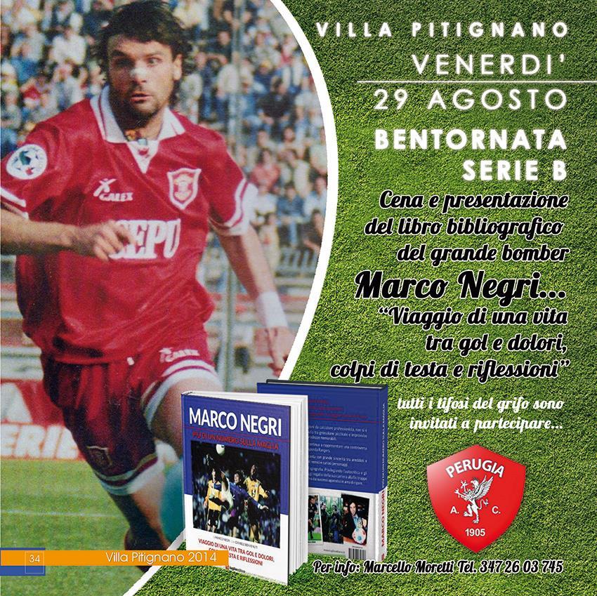Cena e libro del bomber Marco Negri